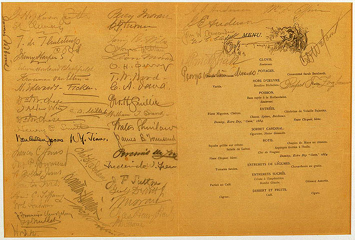 First annual dinner, menu cover, 1888 - signatures of attendees